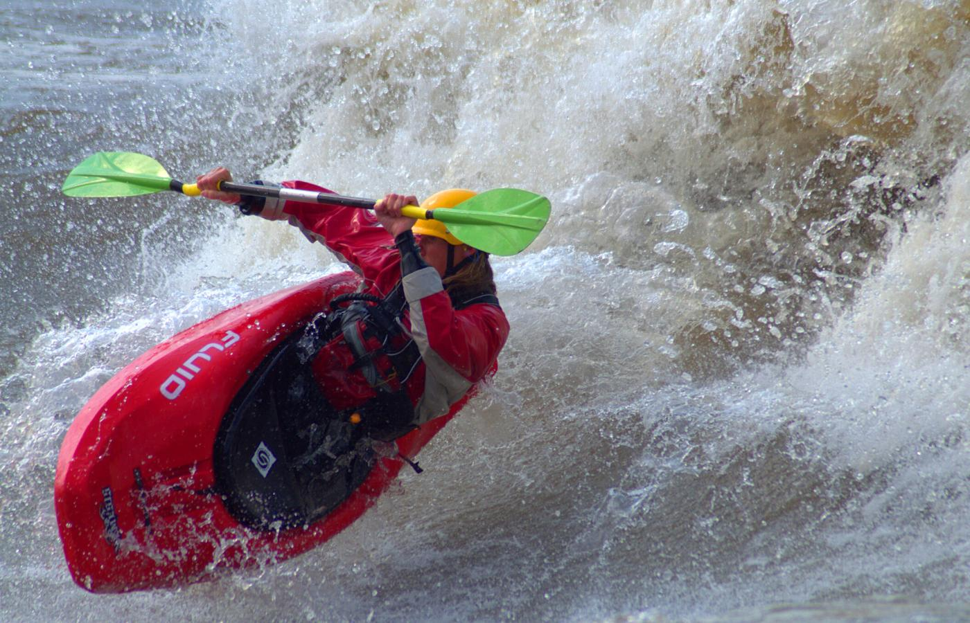 Playboating in the Slave River Rapids near Fort Smith, Northwest Territories