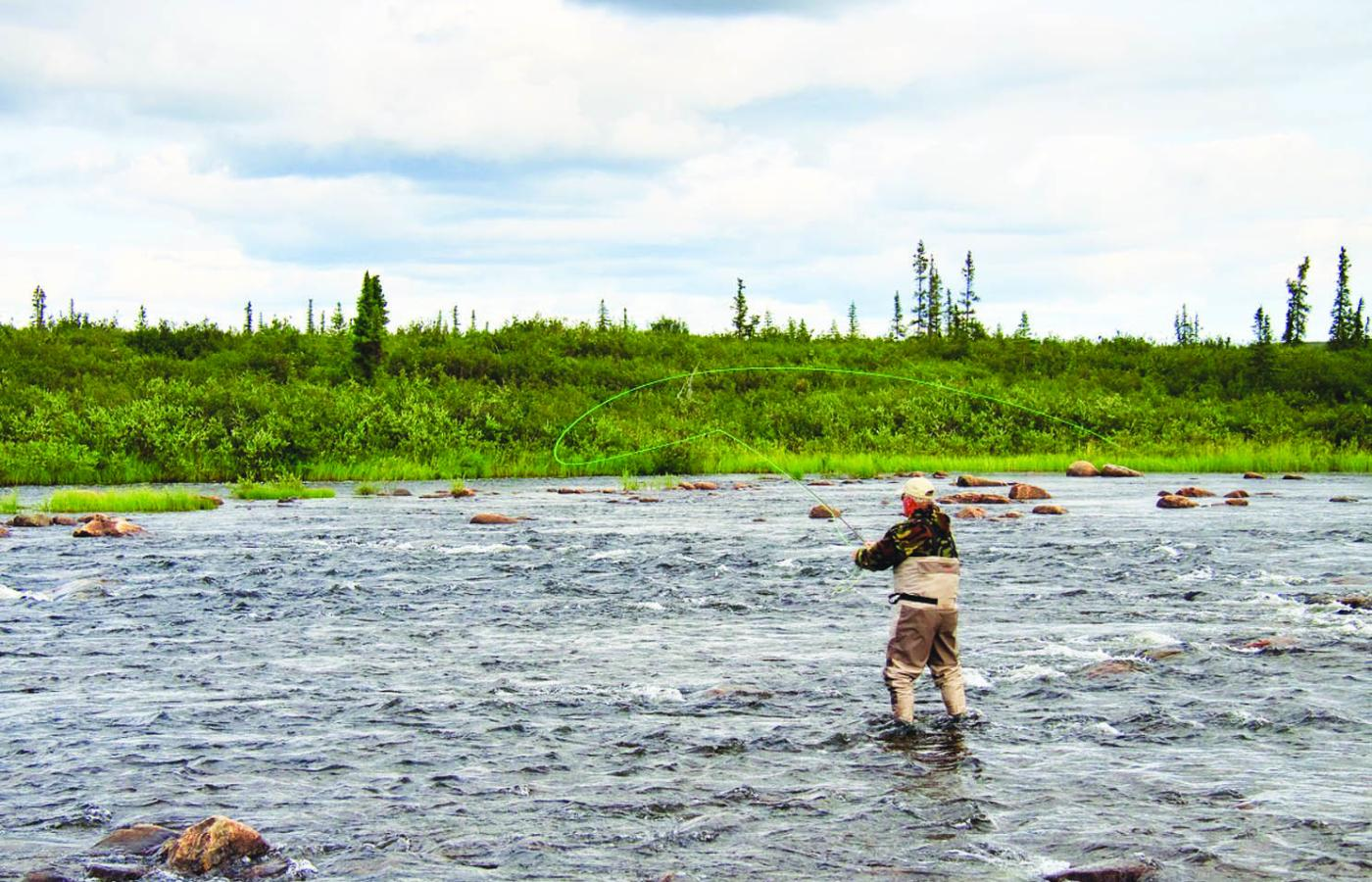 Fly-fishing at Peterson's Point Lake Lodge in the Northwest Territories