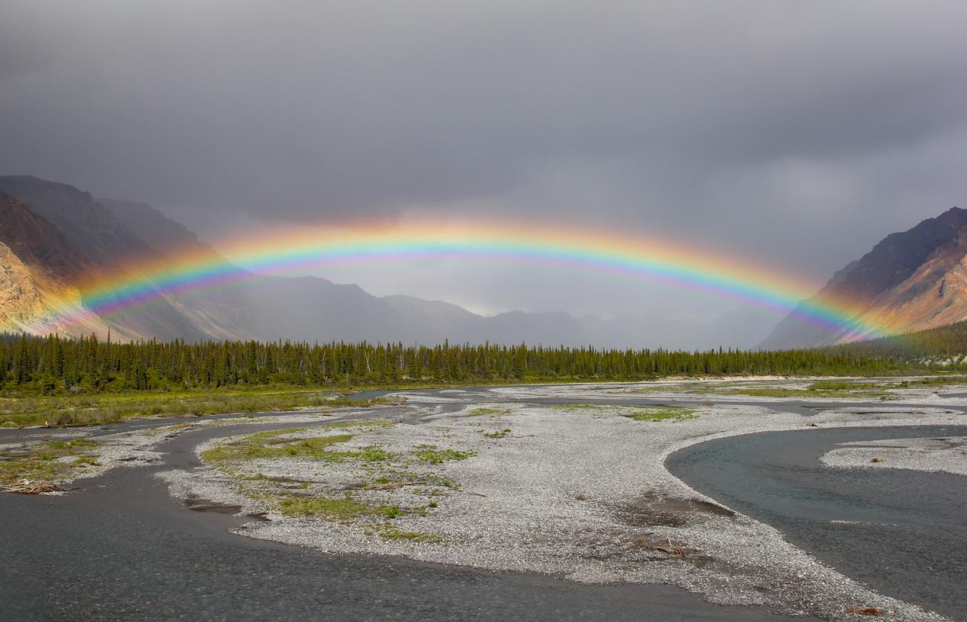 Rainbow over a pristine landscape in the Sahtu in the NWT