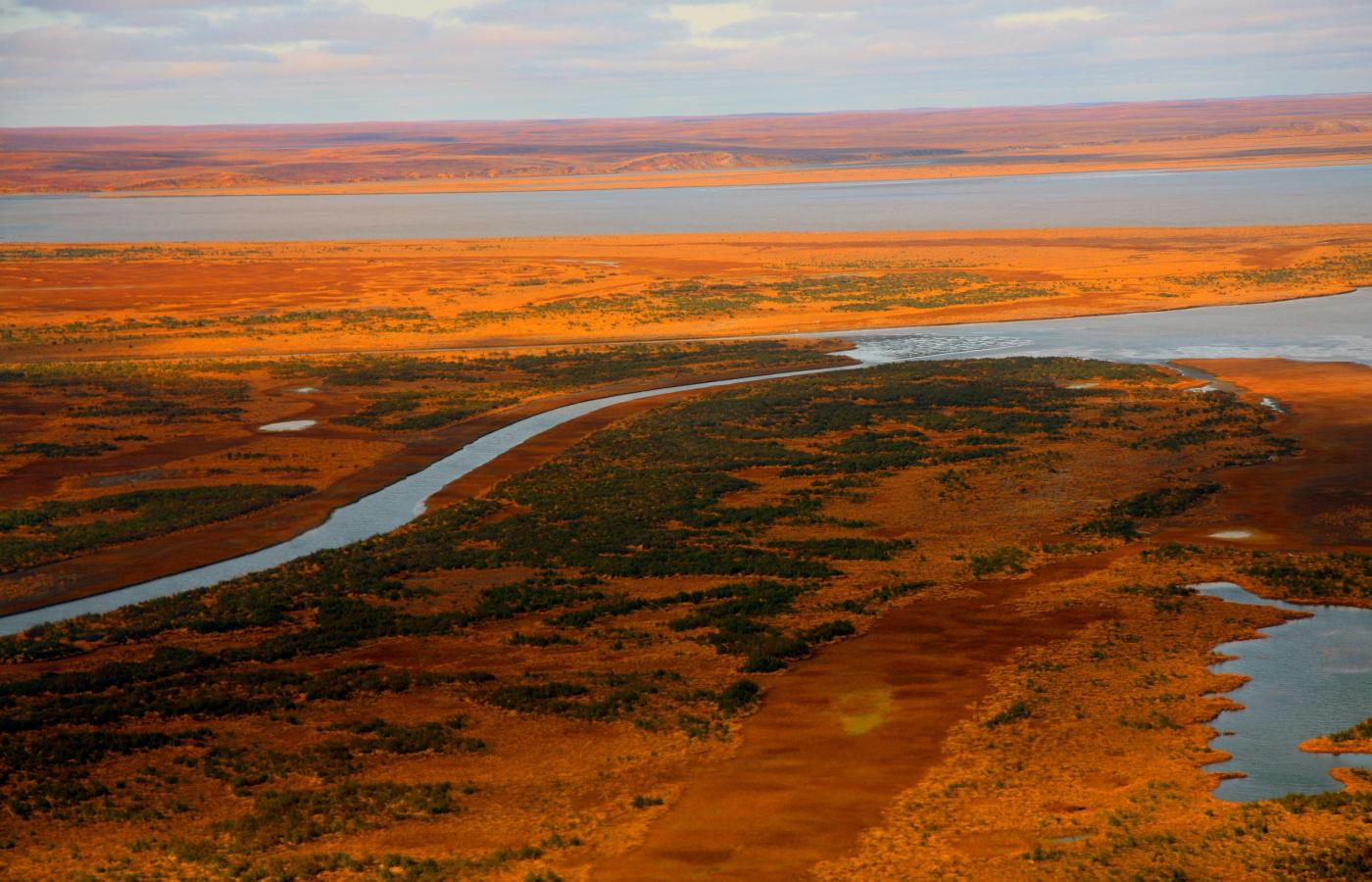 Drone image of the tundra in autumn colour near the Beaufort Sea in the NWT