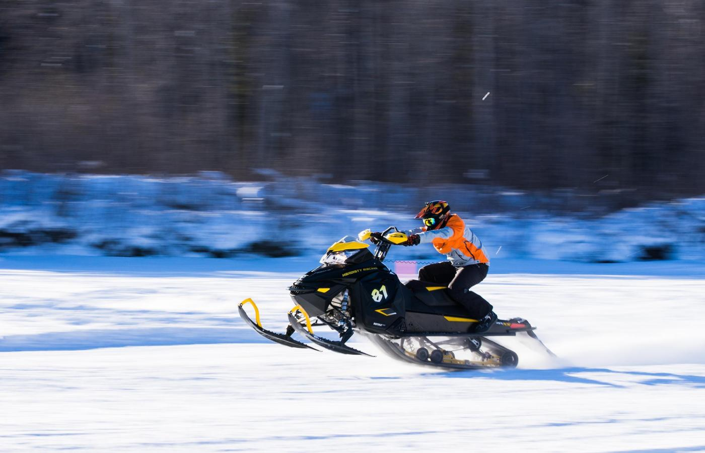 snowmobiling going fast