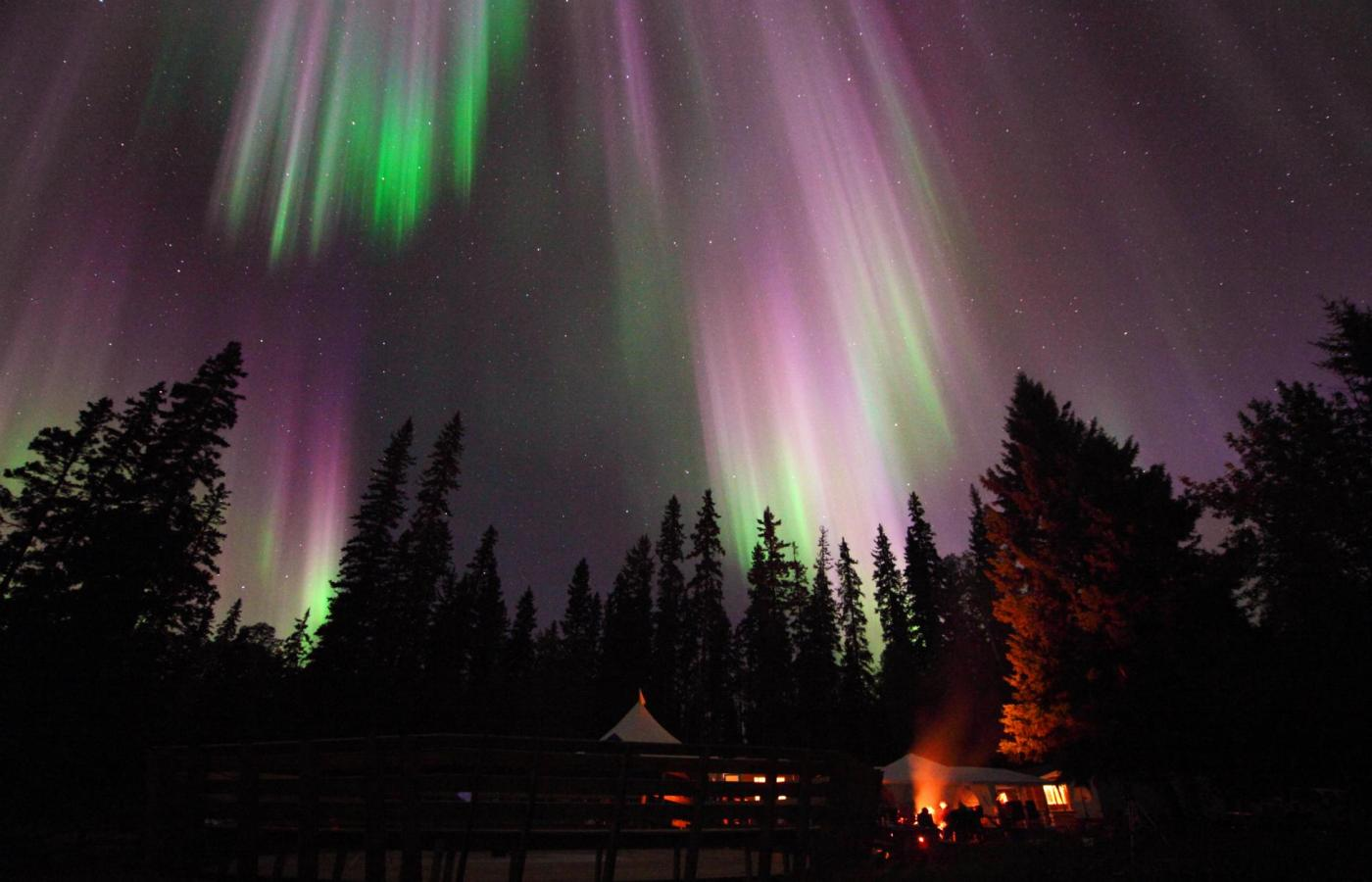 northern lights aurora over wall tent