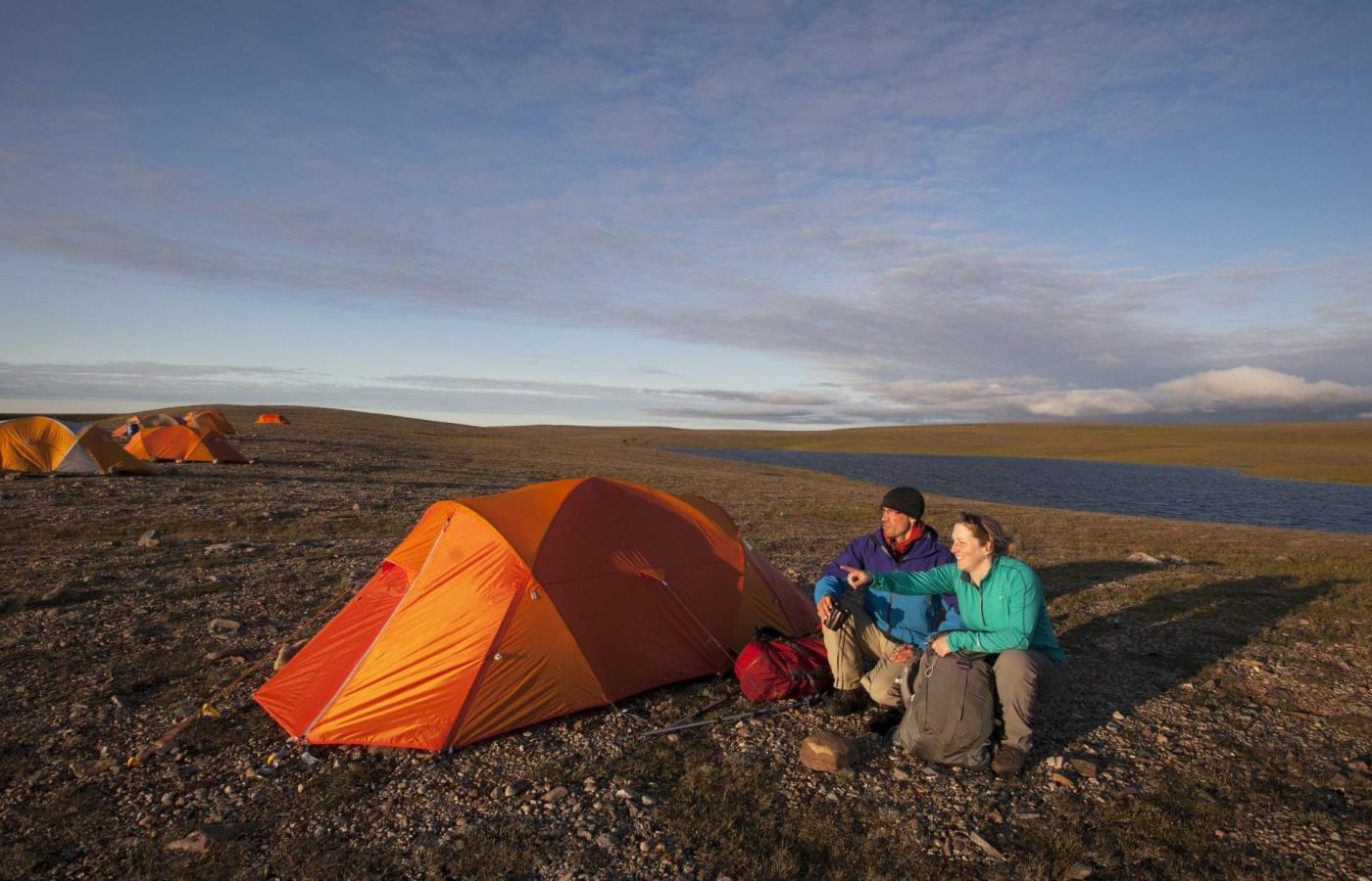 Camping in the Fall on the tundra in the Northwest Territories