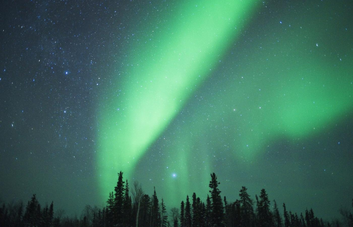 The Northern Lights blooming in the Northwest Territories, Canada