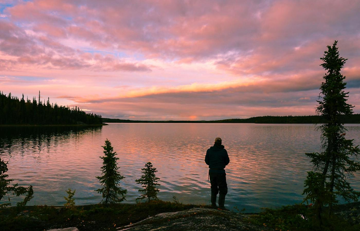 a person takes in the lakeside view, under the pink midnight sun