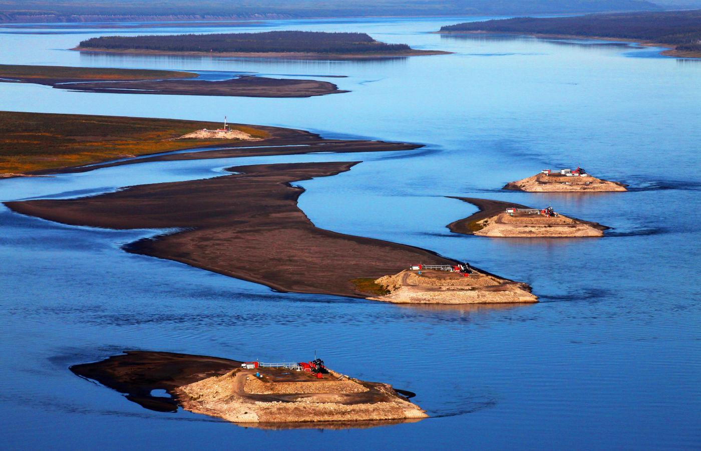 Pass by oil operations on the Mackenzie River, in Canada's Northwest Territories
