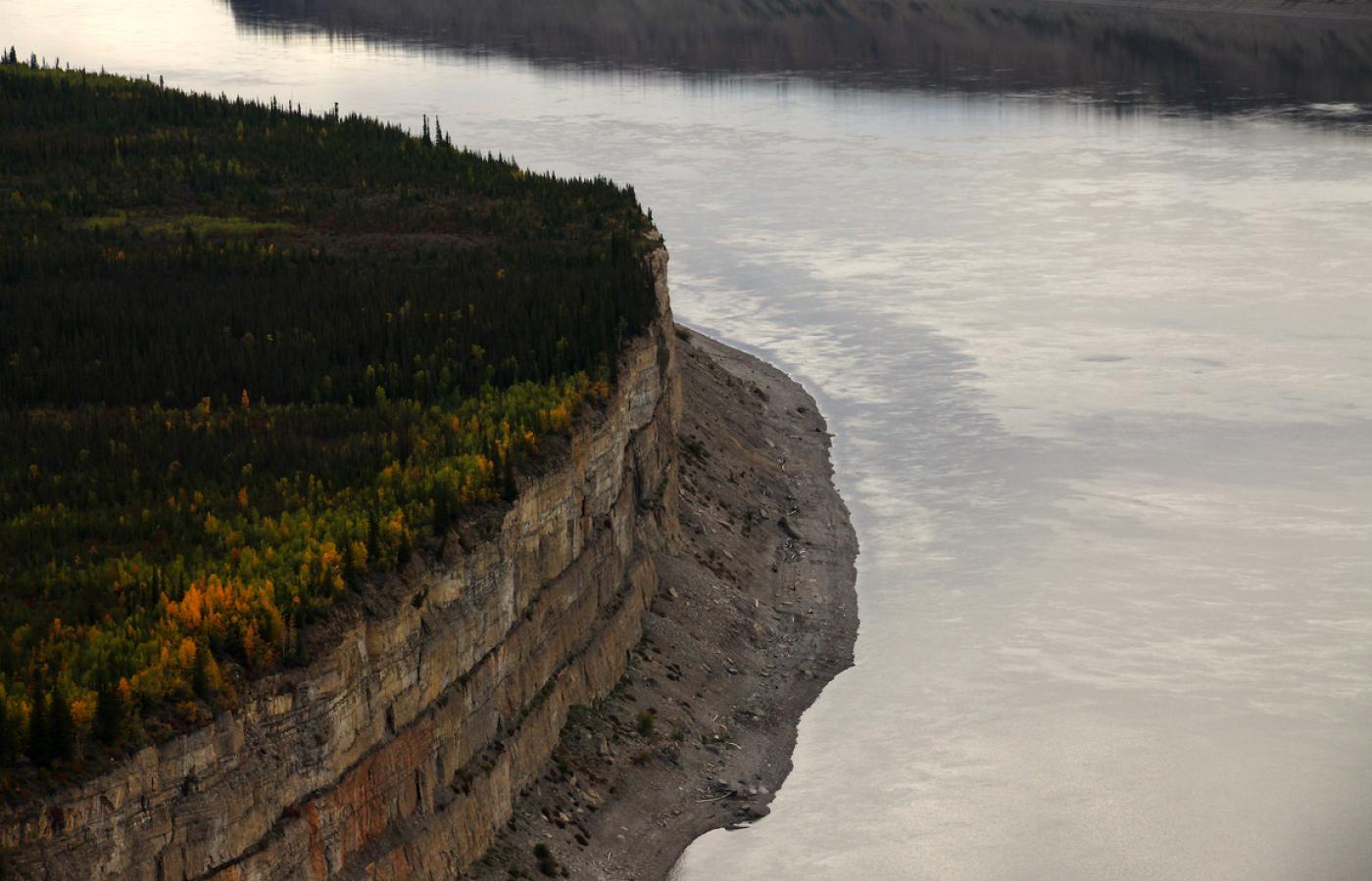 The Ramparts are a major feature of the Mackenzie River, near Fort Good Hope, in Canada's Northwest Territories