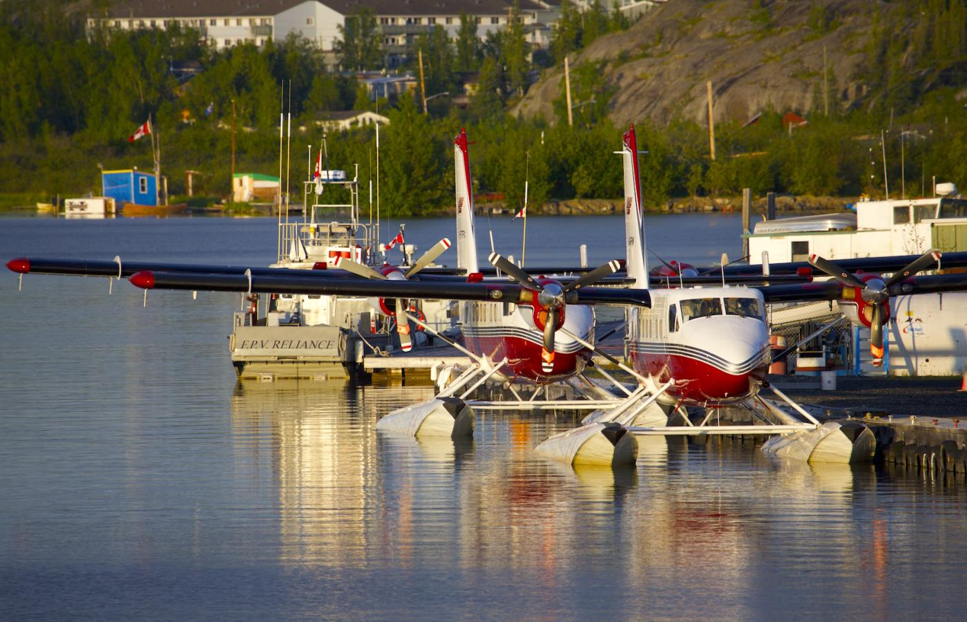 Floatplanes in Old Town in Yellowknife, Northwest Territories