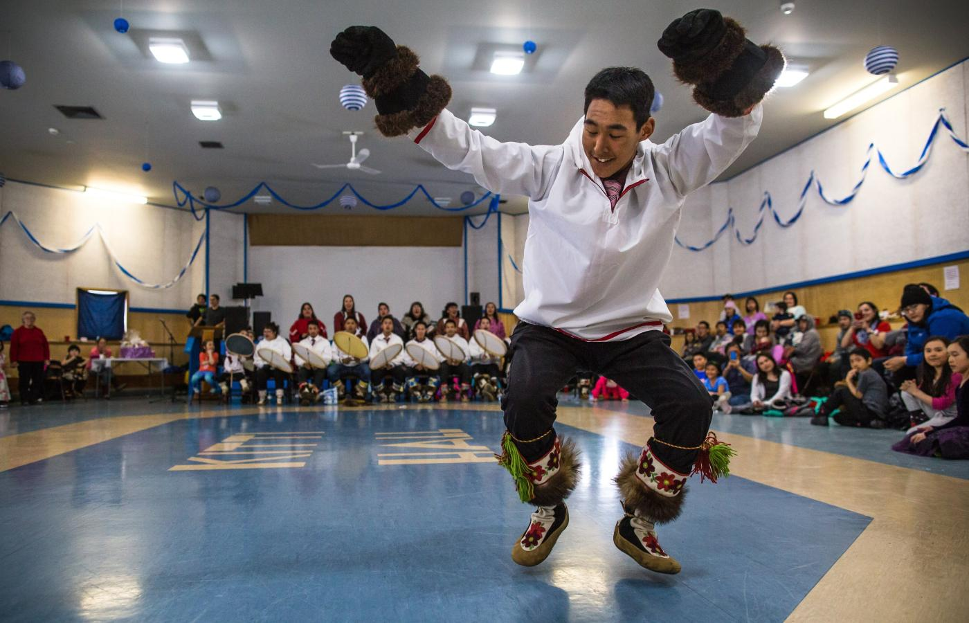 Celebrate National Indigenous Peoples Day on June 21 in Inuvik, Northwest Territories, Canada by watching Inuvialuit Drummers and Dancers