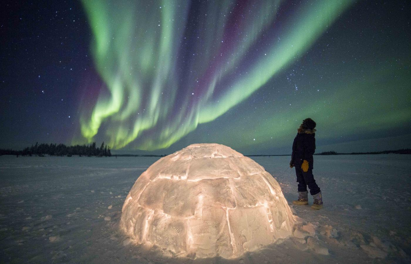 The Northern Lights (aurora borealis) over an igloo on Blachford Lake in Northwest Territories