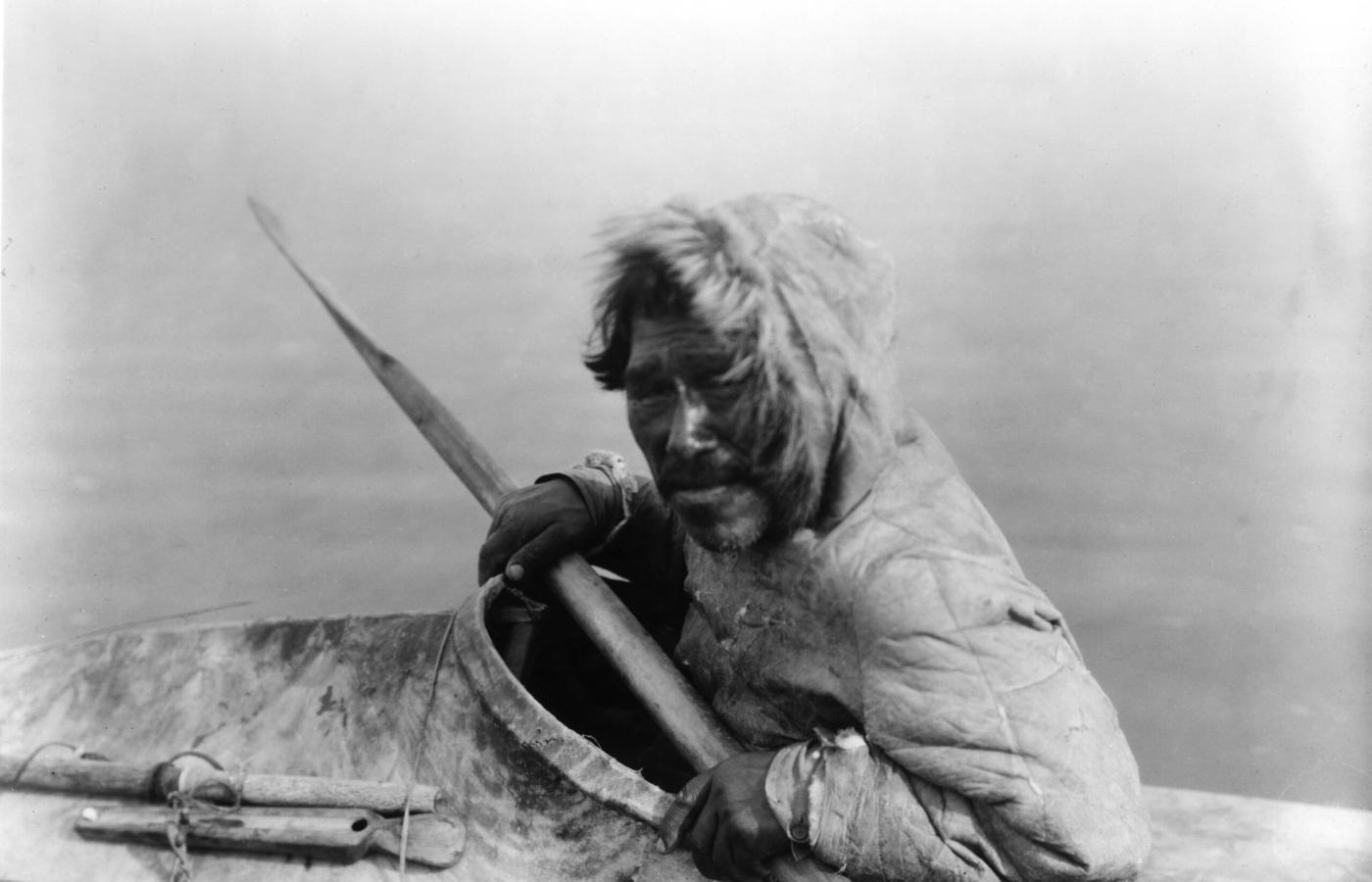 Inuit man on sea ice along the Northwest Passage