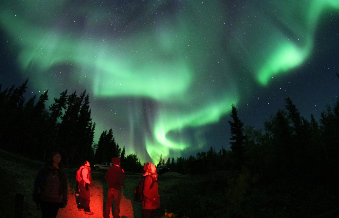 Cosmic storms show in the Northern Lights above Canada's Northwest Territories.