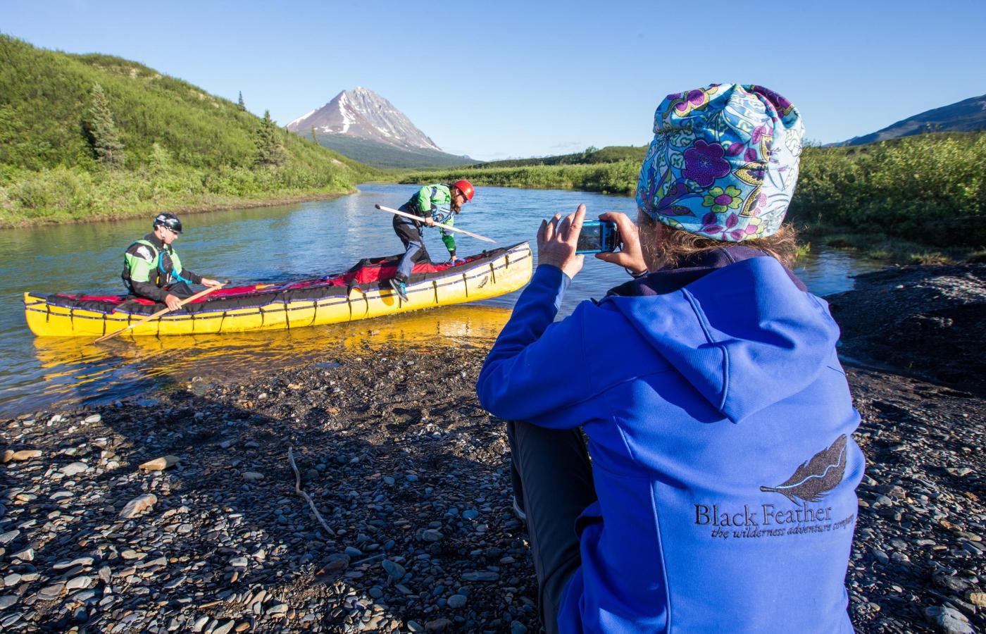 Canoe trippers coming off of the South Nahanni River