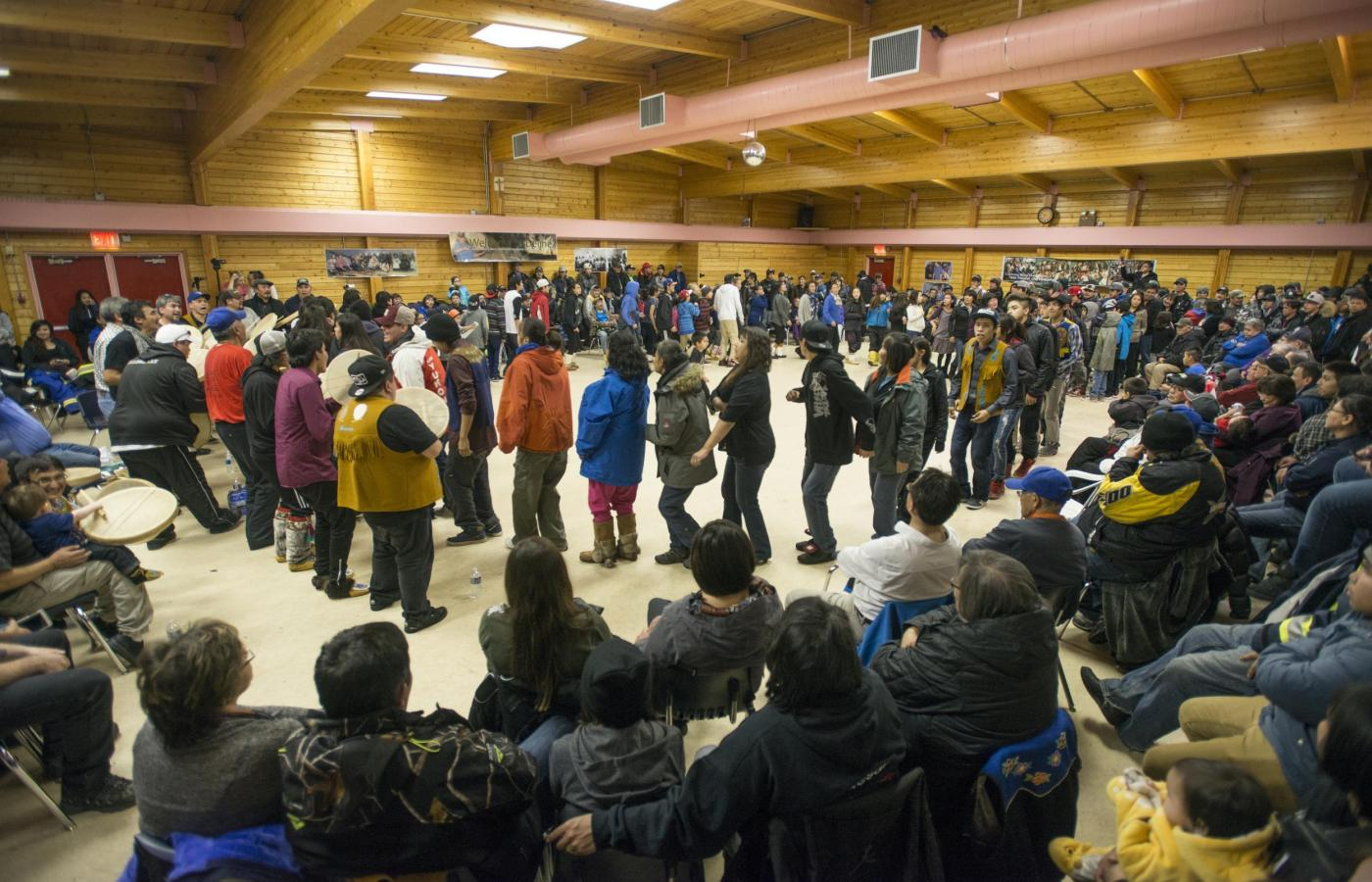 Dene drum circle in Deline
