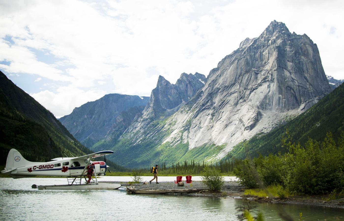 a floatplane on Glacier Lake in Nahanni National Park Reserve