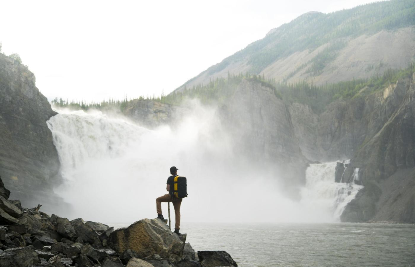 hiking looking at virginia falls in nahanni
