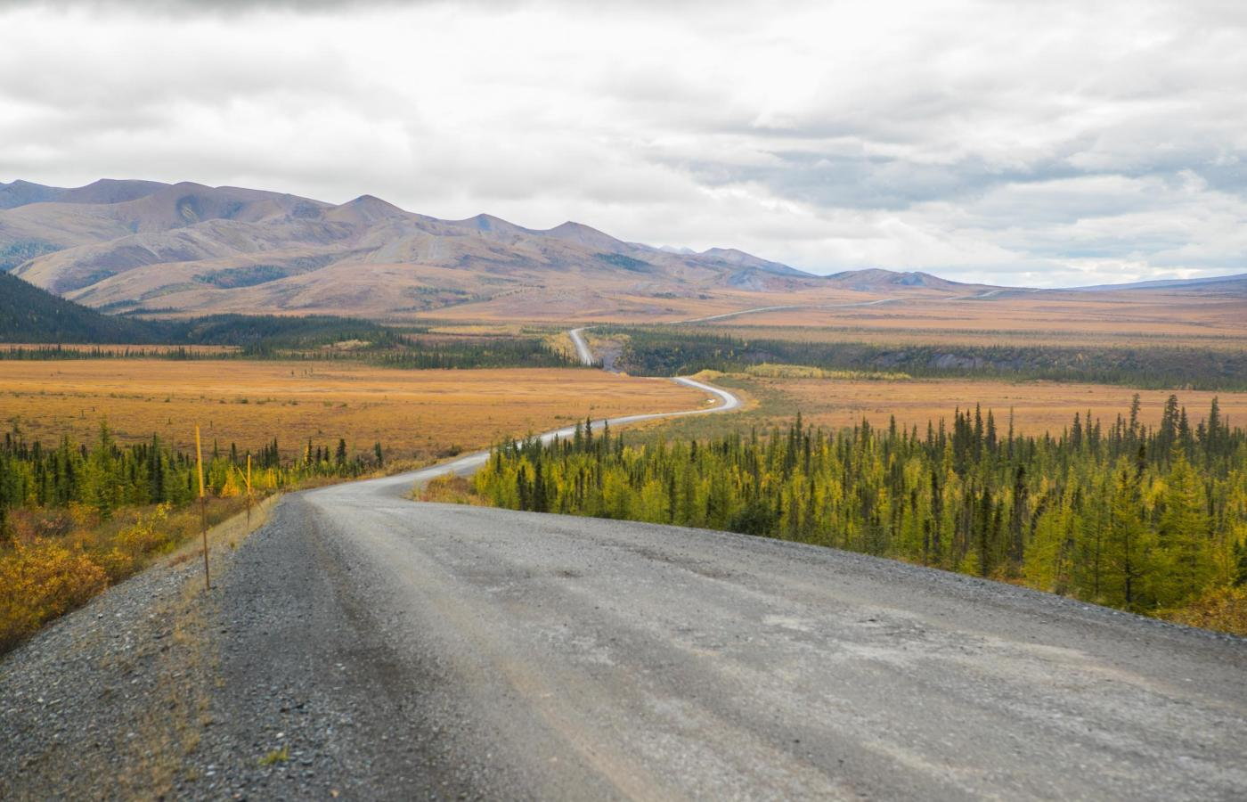 dempster highway with richardson mountains in the background