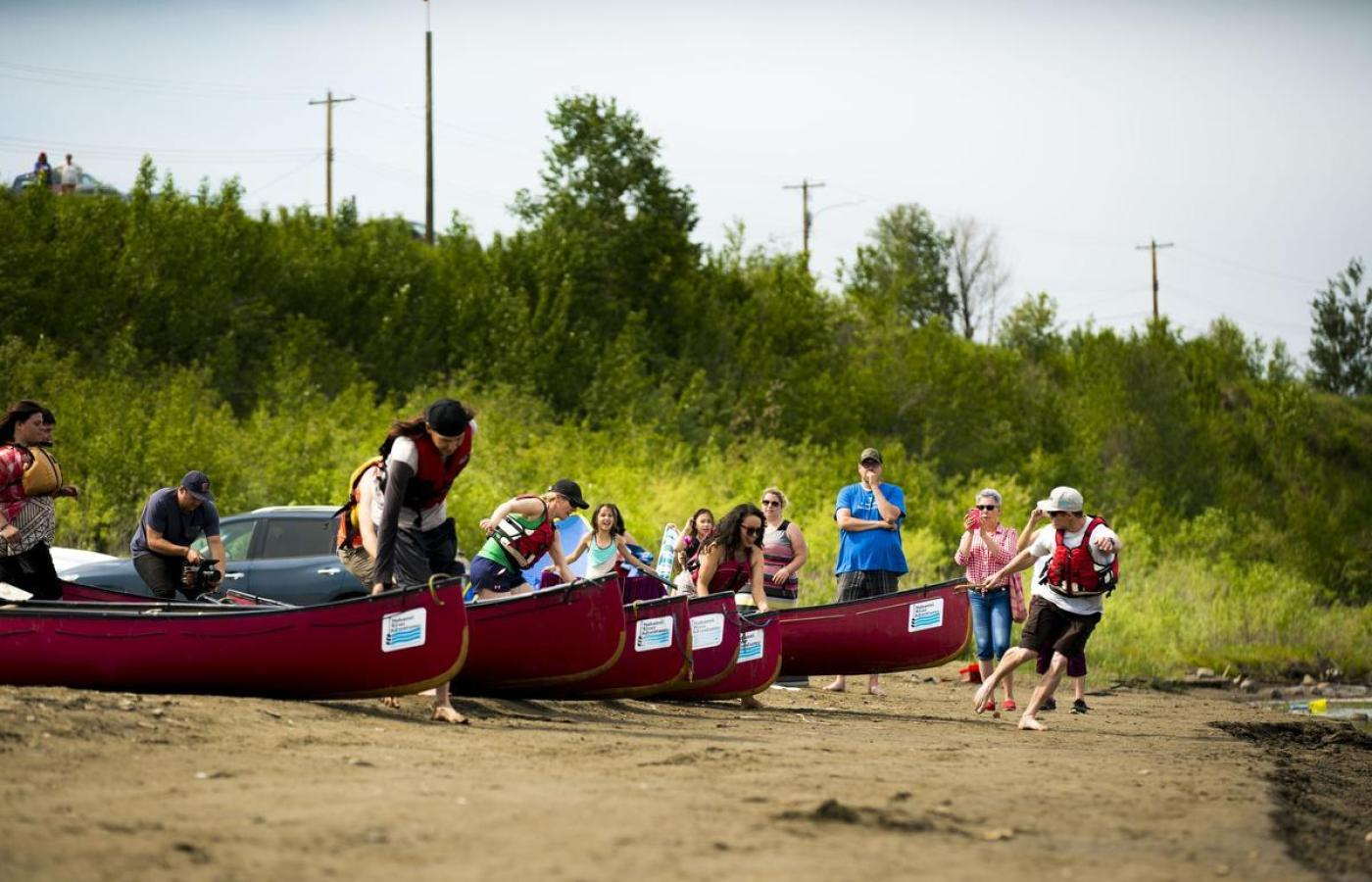launching canoe race in Fort Simpson for Aboriginal Day