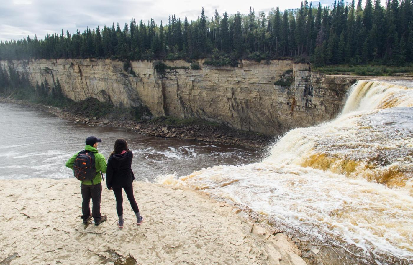 a couple looks over the Twin Fall Gorge