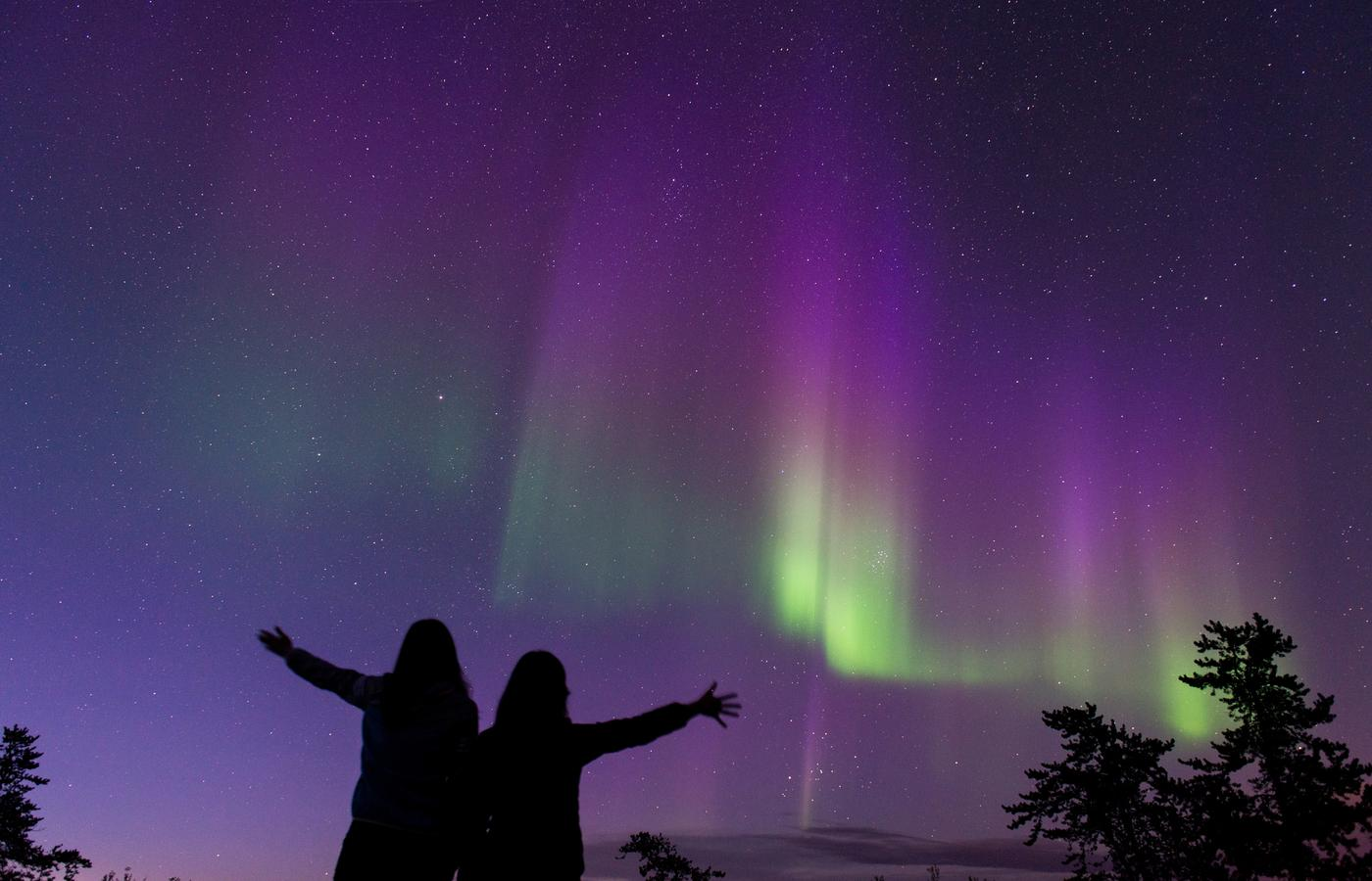 two people dance in excitement at seeing the purple northern lights glow