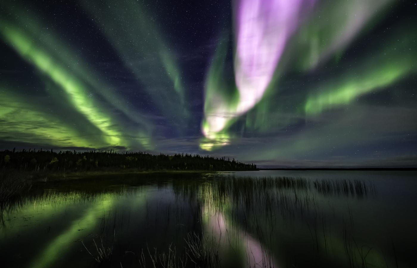Green, pink and purple aurora dances across the night sky over a lake in the Northwest territories
