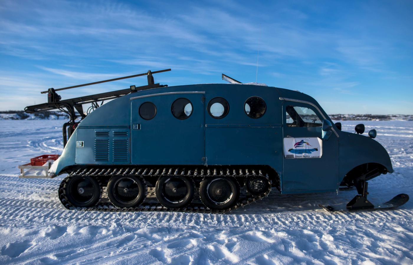 A bombardier snow machine in the Northwest Territories