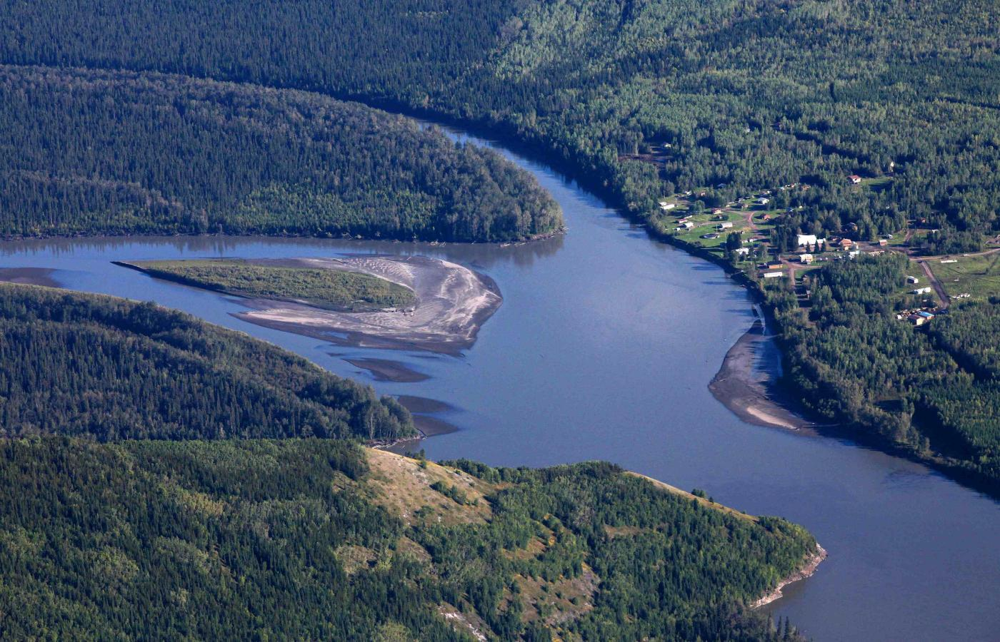 An aerial view of the community of Nahanni Butte along the Nahanni river in the spectacular Northwest Territories
