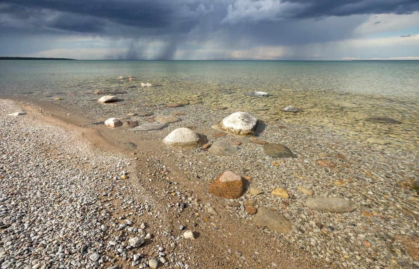 A rain storm blows in off Great Bear Lake