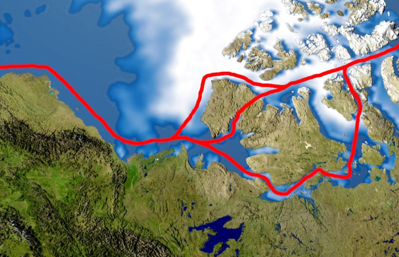 Map showing the Northwest Passage