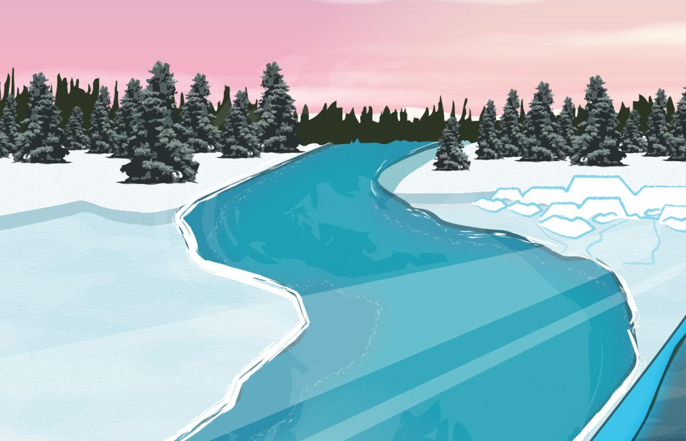 A turn in the road on an ice road in Canada's Northwest Territories