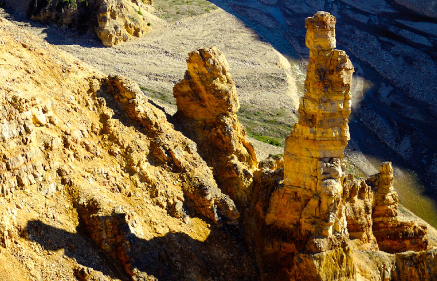 Ancient hoodoos carved by the elements along the Canol Trail in Canada's Northwest Territories