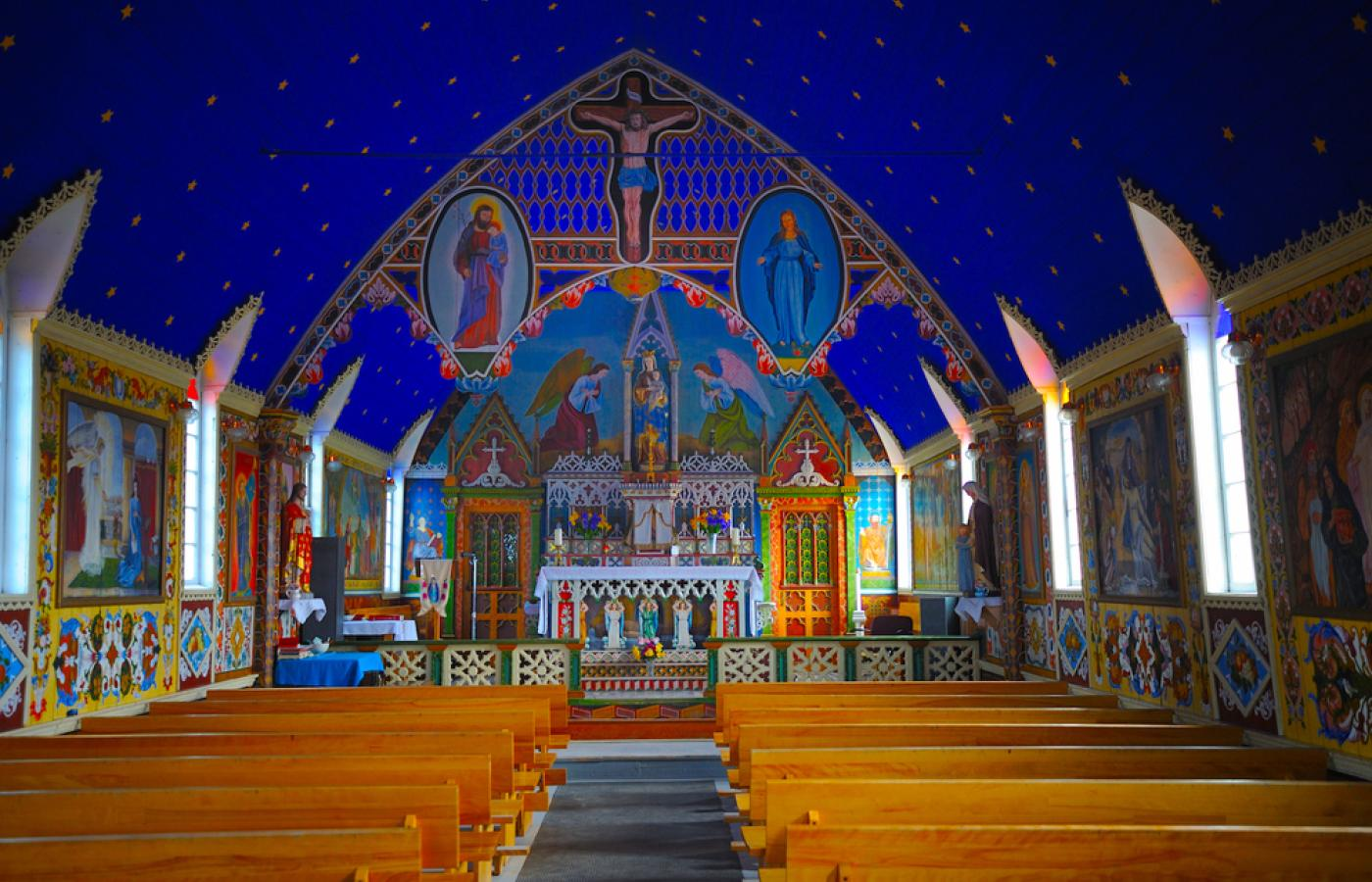 Our Lady of Good Hope is a must-see in Fort Good Hope, on the Mackenzie River in Canada's Northwest Territories