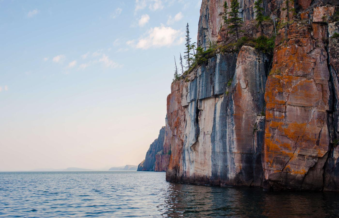 Red cliffs of the East Arm in Great Slave Lake