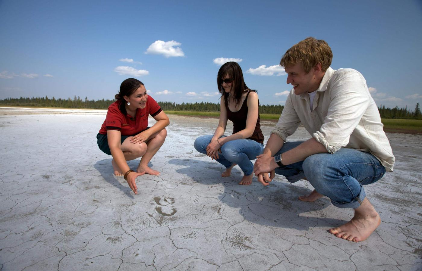 Parks Canada staff explaining Salt Plains in Wood Buffalo National Park