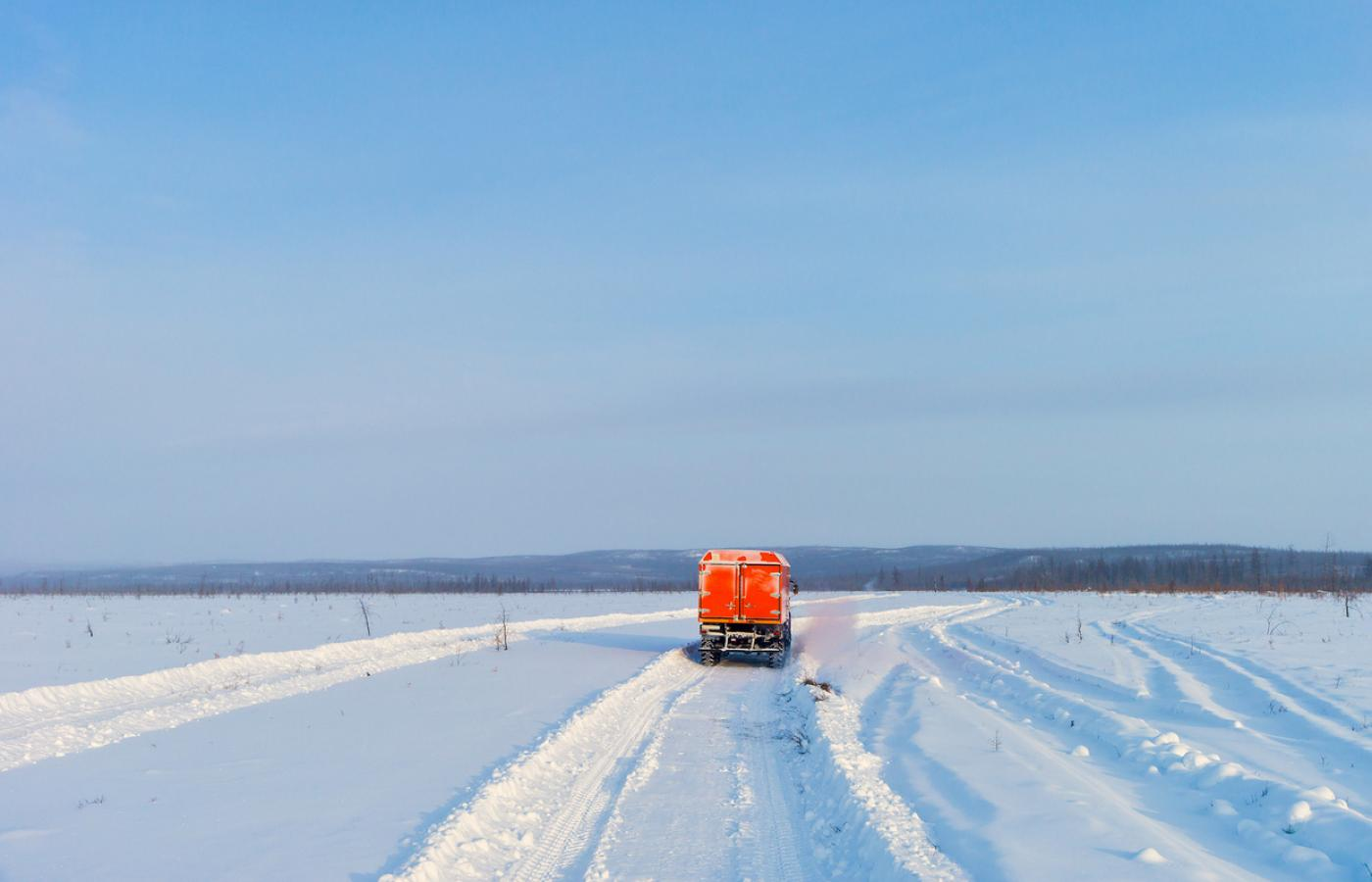 Vehicle on an ice road in the NWT