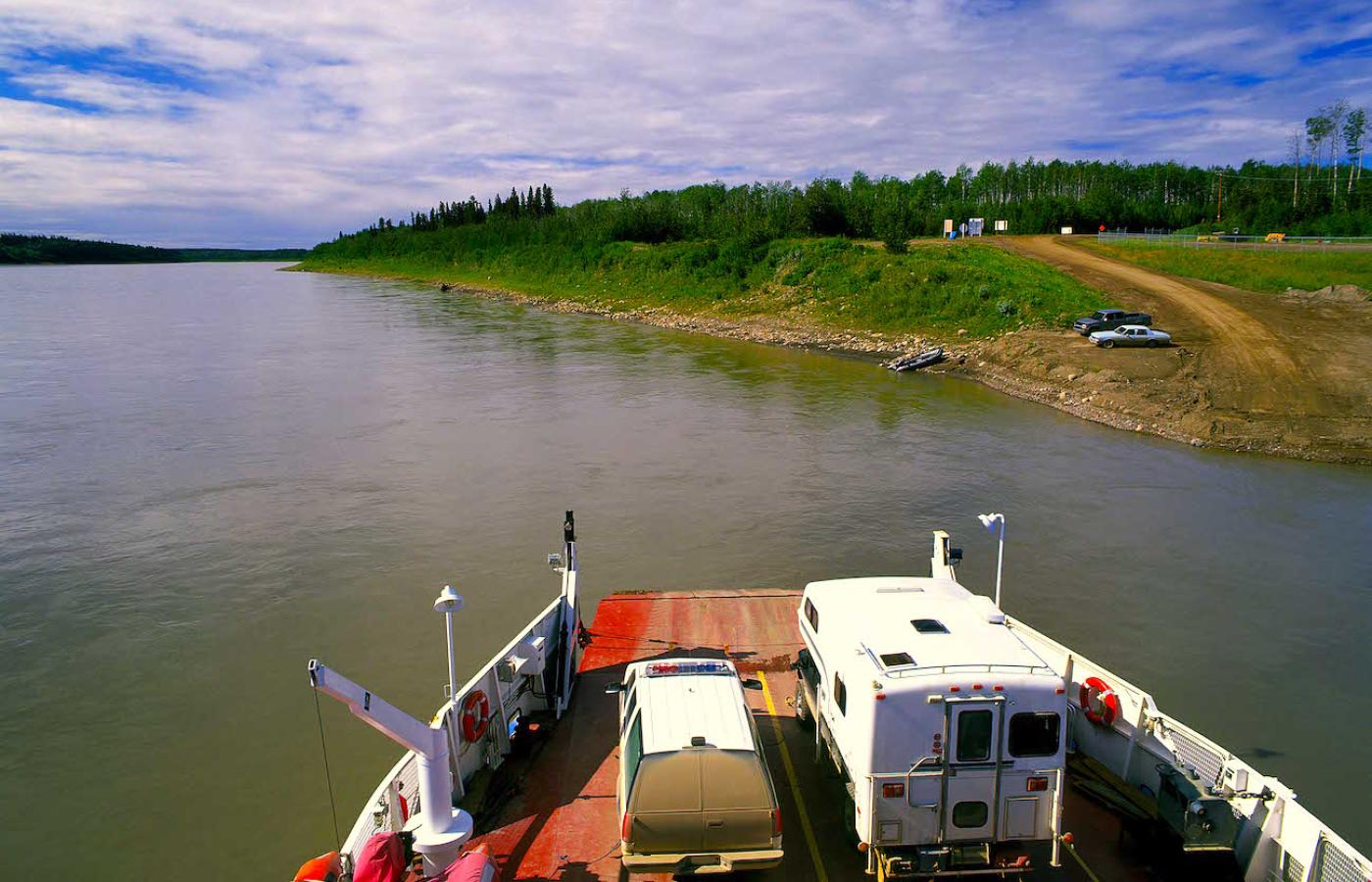 Say hello to the ferryman plying his boat over a wild river in Canada's Northwest Territories