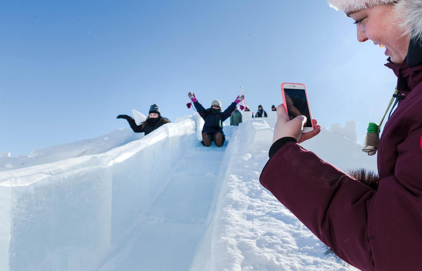One of the famous ice slides at the Snowking Castle in Yellowknife