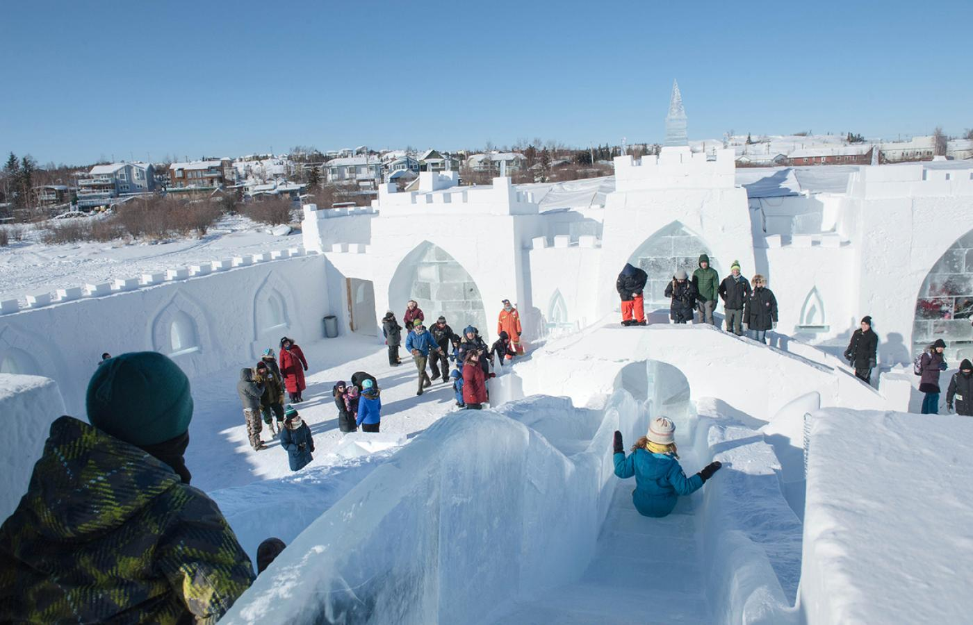 The SnowKing and his royal crew build a snowcastle on Yellowknife Bay each March.