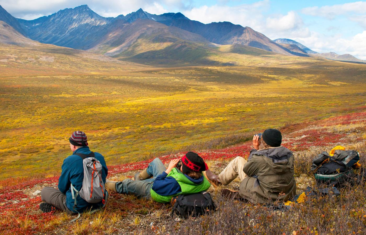 Hiking near the Canol Trail at the Dechenla Lodge and Wilderness Resort in the NWT