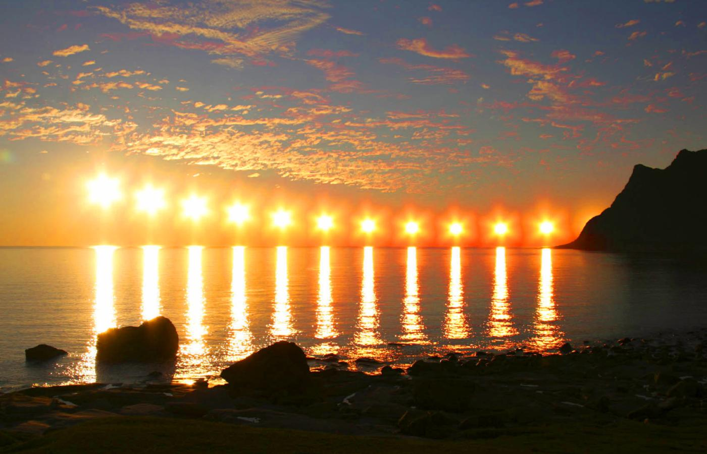 Time lapse photo showing the midnight sun in the NWT