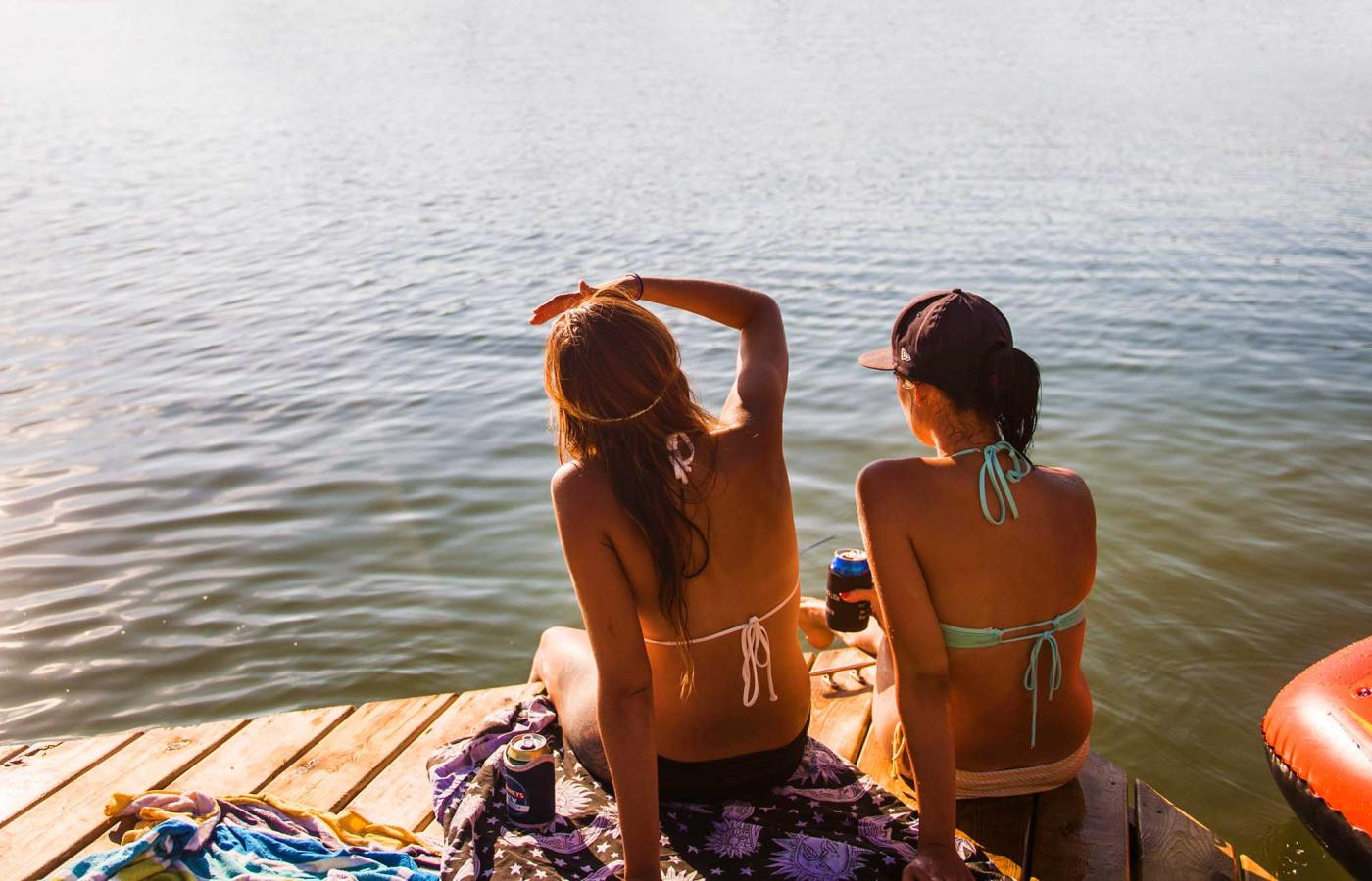 bathers on a dock in yellowknife