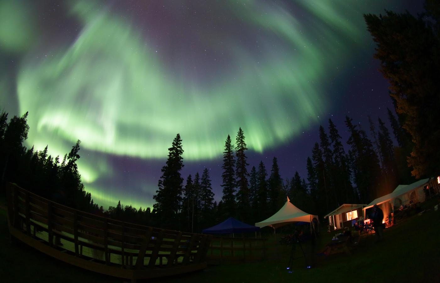 The Northern Lights above Pine Lake, the site of the Dark Sky Festival in Fort Smith, NWT and Wood Buffalo National Park.
