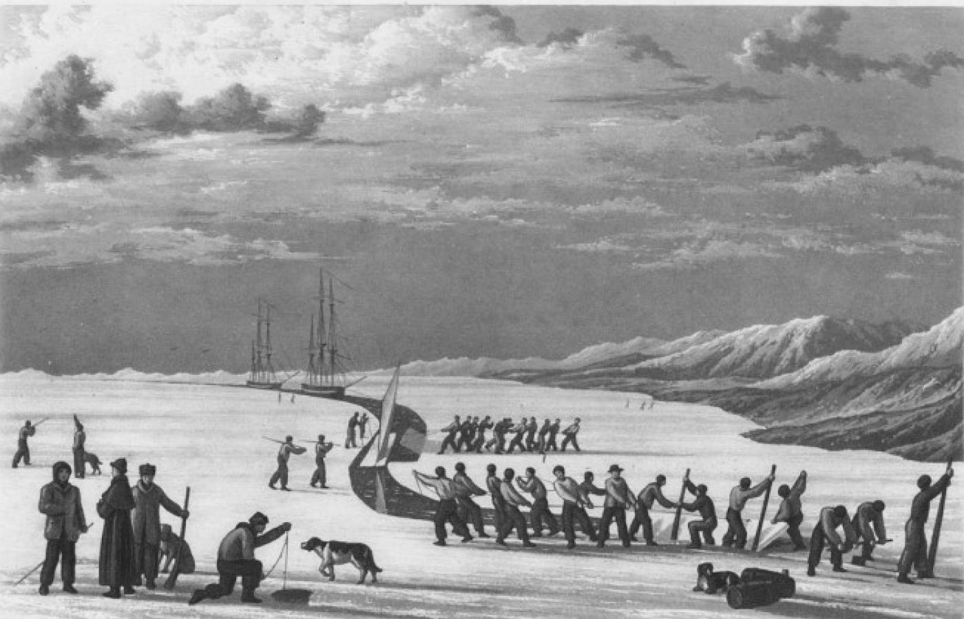 Historical illustration of Europeans in the High Arctic during winter