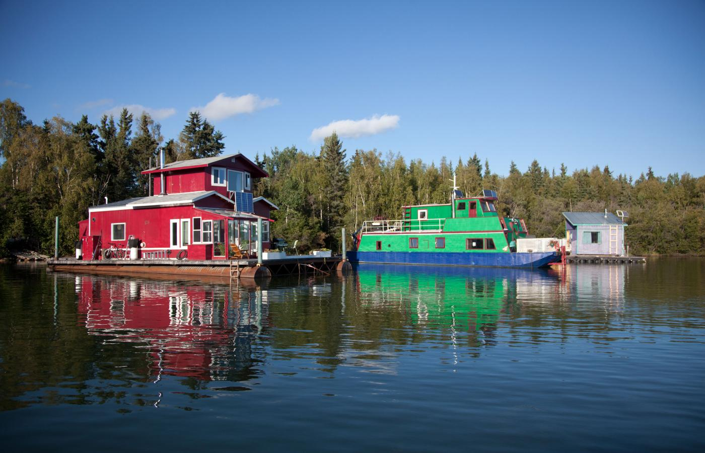 Houseboats on Great Slave Lake's Yellowknife Bay.