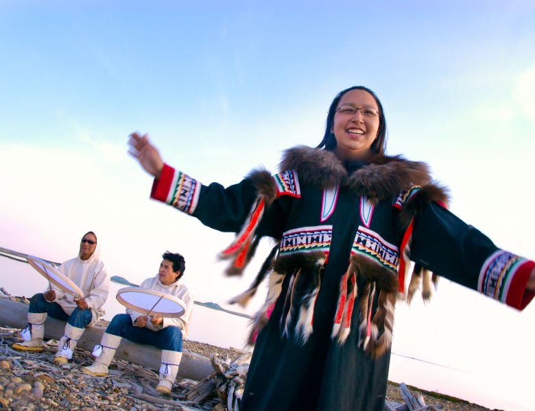 Inuvialuit drumming and dancing in the Western Arctic, NWT.