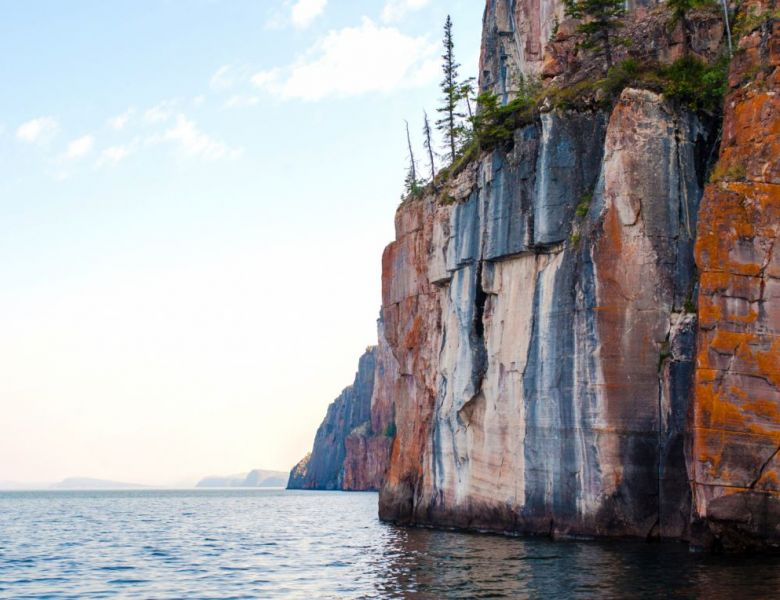 Dramatic cliffs in the East Arm of Great Slave Lake in the NWT.