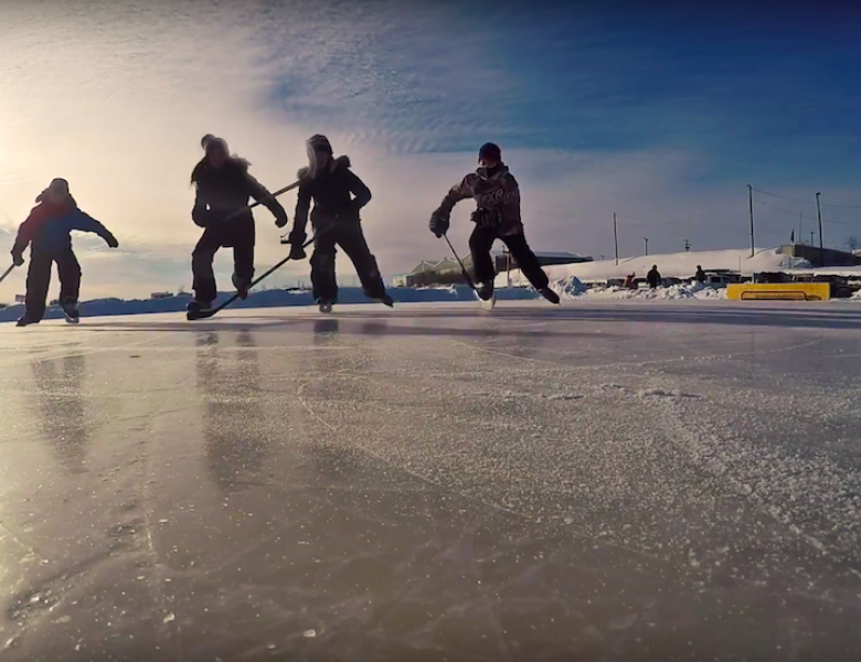 """The annual Polar Pond Hockey tournament in Hay River, NWT, the """"Hub"""" of the South Slave region."""