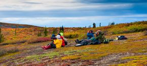 Stopping to photography and enjoy the view of the colorful barrens in the autumn