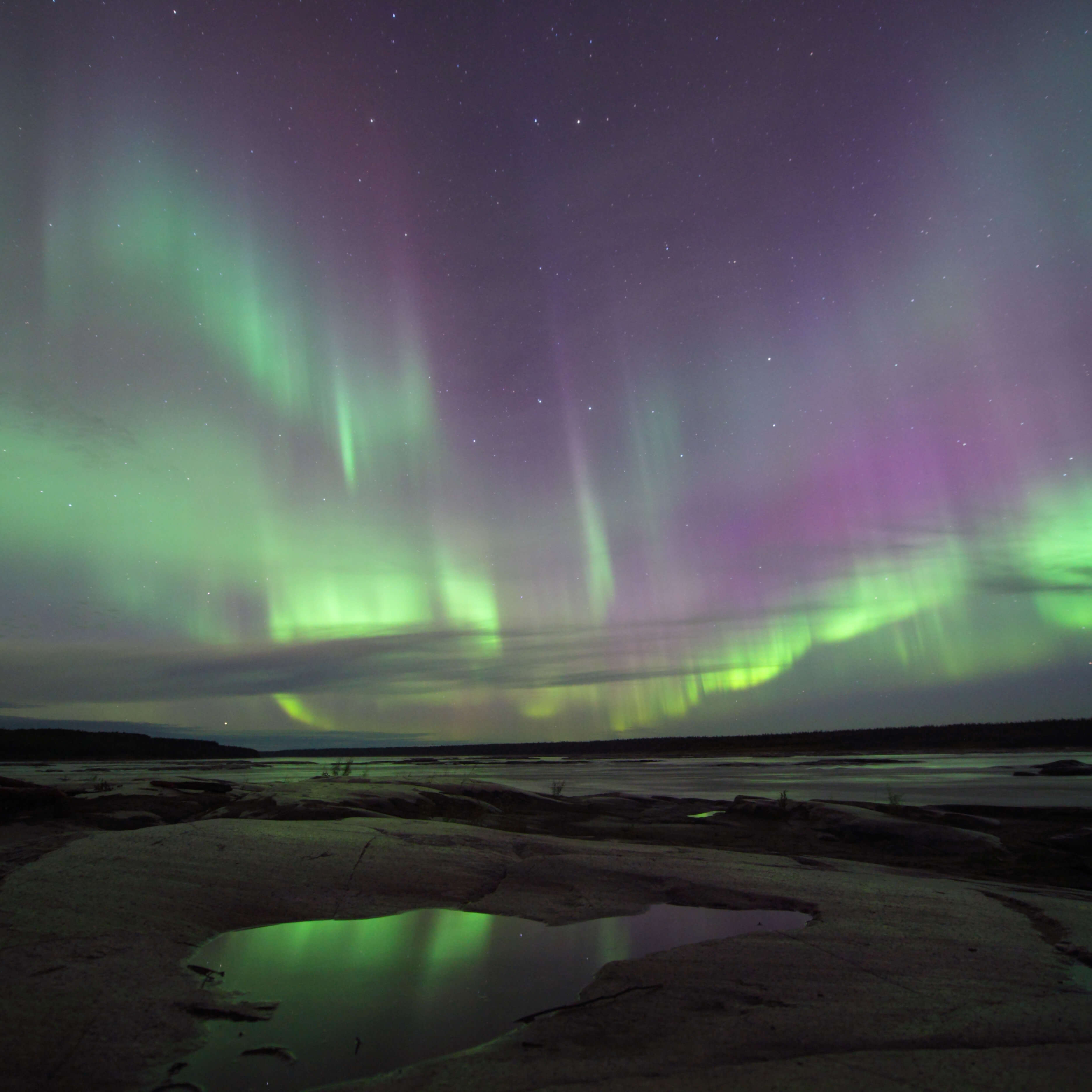 Multi-coloured Aurora reflecting in shallow pool on the edge of Great Slave Lake