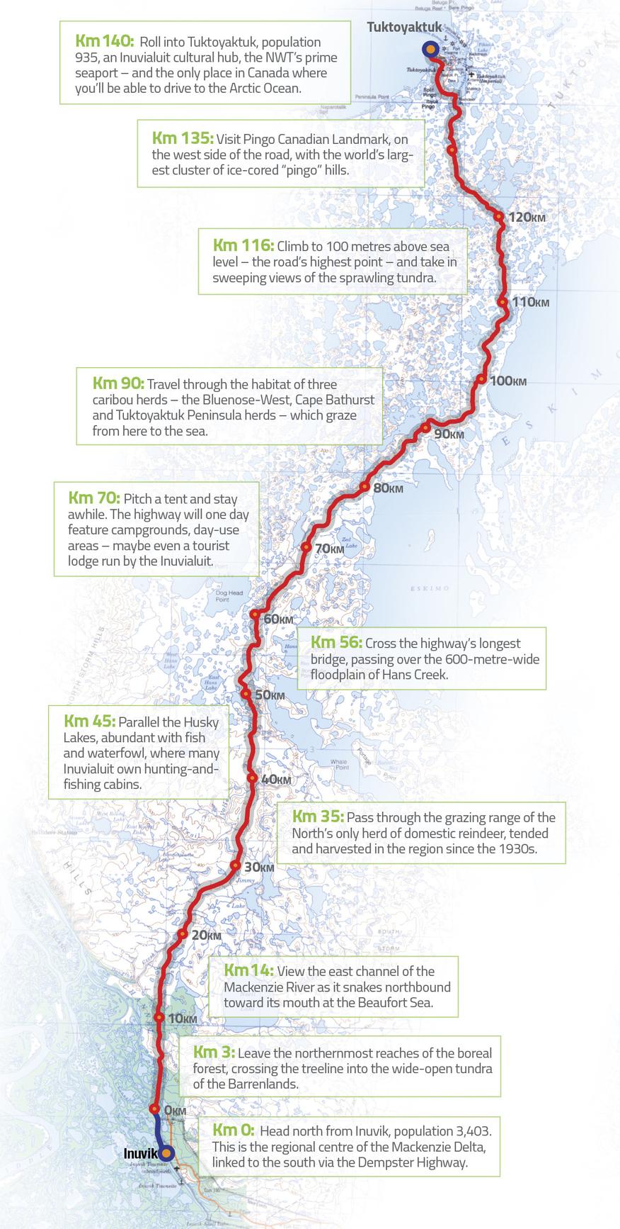Inuvik to Tuktoyaktuk Highway Map